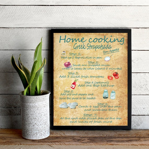 recipe print Kitchen wall art Greek Recipes print breakfast