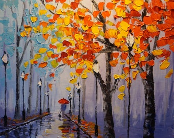 Original Palette Knife Oil Painting, Fall in Park, 12x14in