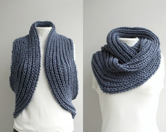 Infinity Loop Scarf Indigo Blue For Her  Gift under75