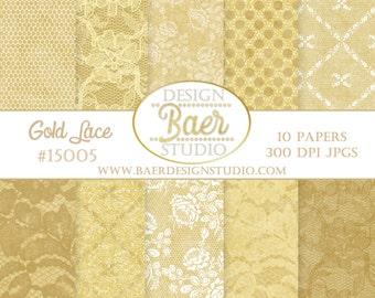 GOLD DIGITAL PAPER:Lace Digital Paper, Gold Digital Scrapbook Paper, Digital Paper Vintage, Wedding Digital Paper, 50th Anniversary Paper