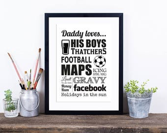 Father's Day - Daddy Loves - Personalised Word Art Print - Typographic Print