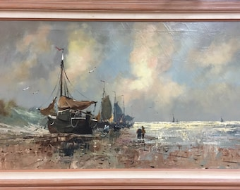 Beautiful Seascape Oil Painting on Canvas. S. Van Dÿke, Circa Early 1900's