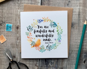 You Are Fearfully and Wonderfully Made Card - Psalm 139:14 Card - Christian Cards - Dedication Card - New Baby Card - Baptism Card