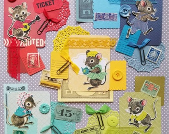Meeces to Pieces Mini Scrap Packs | Vintage Ephemera Collection | 15 pieces | Mixed Media | Junk Journal | Inspiration Kit
