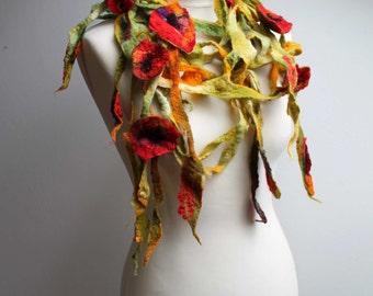Poppies Field Scarf Red Green Floral Felt Wrap Scarf  Shawl Summer Flowers Felted Lariat  Dread Summer Fashion Belt Headband Bloom OOAK