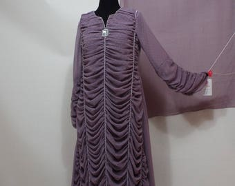 Ladies Long beaded Georgette lavender pink 3 pc pakistani suit dress pants and shall size S-M