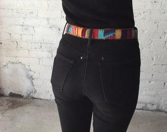 vintage 70's Camel leather Guatemalan belt / boho belt / hippy belt / festival wear