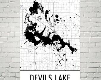 Devils Lake North Dakota, Devils Lake ND, Devils Lake Map, North Dakota Map, Lake House Decor, Lake Map, Devils Lake Print, Devils Lake Art