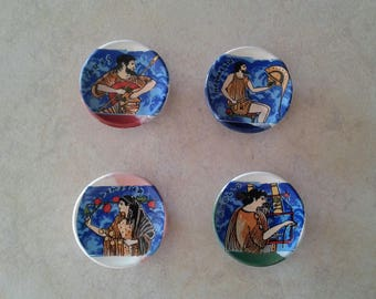 Ancient Greek Gods, Ceramic Magnets (refrigerator magnets, kitchen magnets, fridge round magnets, magnets set, magnets for boards)