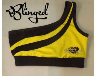 Blinged yellow and black crop