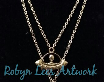 Glow In The Dark Cute Silver Alien and UFO Spaceship Necklace Set