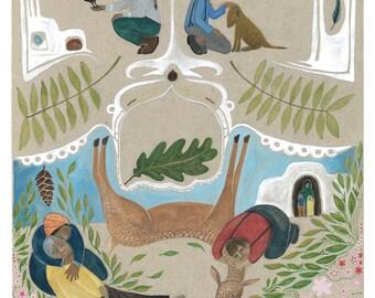 Compassion - impression d'une illustration originale, de beaux-arts, tirages d'archives, wall art nature peinture aquarelle tirage amoureux des animaux cadeau
