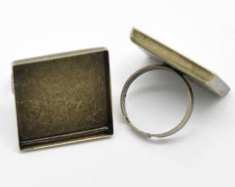 x 5 holders square Adjustable ring bronze cabochon 25x25mm