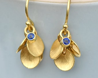 Blue Sapphire Earrings with 18k Gold Petals, Eco Friendly