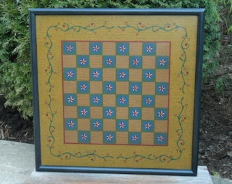 "19"", Checkerboard, Game Board, Wood, Folk Art, Game Boards, Wooden, Primitive, Board Game, Hand Painted"