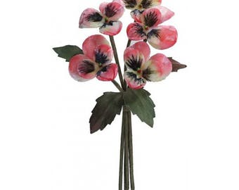 Velvet Pansies Millinery Fabric Flowers Czech Republic Pink NFC033P