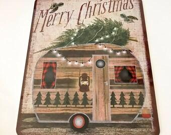 Primitive Christmas Sign - Christmas Trailer Sign - Wreath Sign - Wreath Attachment