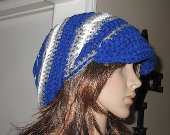 Newsboy Slouch Hat with a Brim Blue Gray and White Slouch