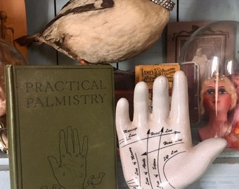 Vintage Palmistry Hand and Book / Fortune Teller / Gypsy / Spiritual / Palm Reading / Oddities / Curiosities / Divination