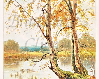 Printable Colour Victorian Autumn Scene in High Resolution