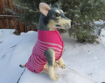Pink Wool Sweater -  Dog Sweater - Wool Dog Coat - Repurposed Dog Clothes - Dog Jumper - Recycled - Repurposed - Dog Coat - Dog Clothing