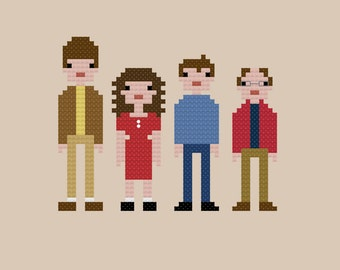 Seinfeld Cast Cross Stitch Pattern INSTANT DOWNLOAD