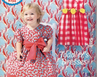 Free Us Ship Sewing Pattern Kwik Sew 134 Ellie Mae Toddler Girls Big Bow Summer Dress Size 1 2 3 4 New Out of Print 2013