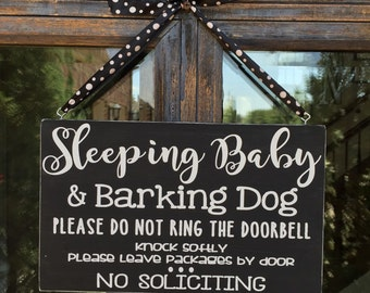 Sleeping Baby Barking Dog Wood Front Door Sign | Baby Shower Gift | No Soliciting | Please Knock | Newborn | New Mom Sign | Go Away | Shhhh
