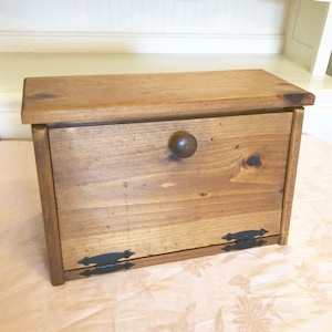 Exceptional Wooden Bread Box With Built In Spice Box Or Extra Storage Bread Box Vintage  Design Double Photo