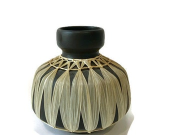 Mid Century Modern Black Pottery Vase with Straw Weave Overlay, Made in Austria, Form 2705