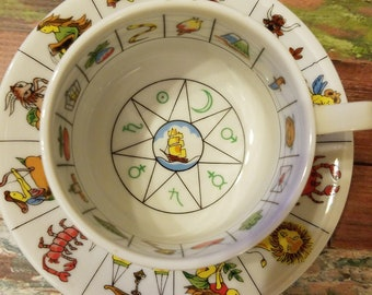 Vintage Zodiac fine china fortune teller tea cup and saucer International collectors guild teacup