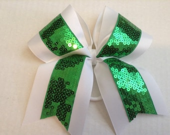 Cheer bow- white and green