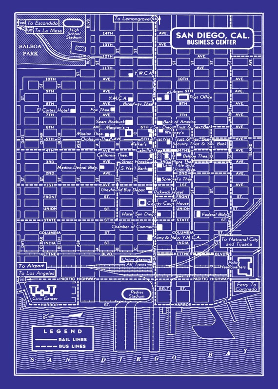 1949 vintage map of downtown san diego blueprint map print like this item malvernweather Gallery