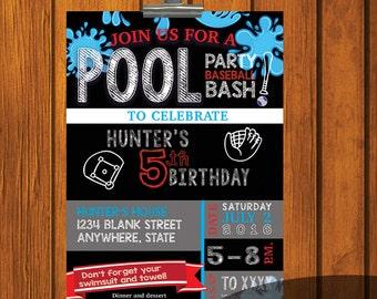 Birthday Invitation / Boy's Birthday / Digital Download / Young Man / Pool Party / Baseball / Birthday Party / Red / Blue / White