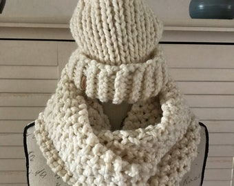 Chunky Knit Winter Pom-Pom Hat With Infinity Scarf