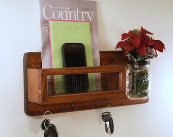 Mail Organizer-Mason Jar Vase-Key Rack-Housewarming-Red Mahogany Finish