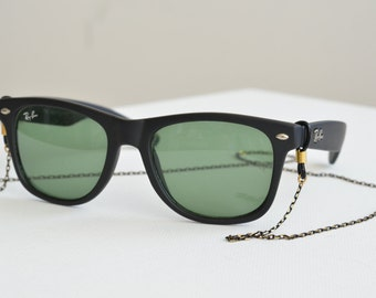 eyewear retainer - black & gold chain - sunglasses, reading glasses chain, croakies, lanyard