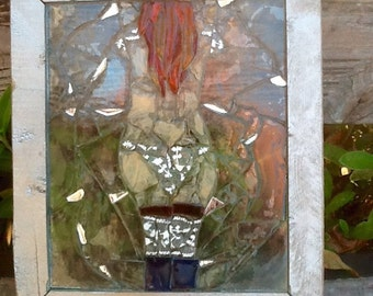 "Exotic Lady Brunette Suncatcher 12""x 10"" handcrafted"