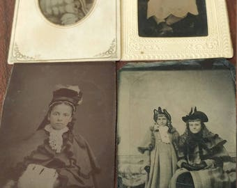 Well-to-do Tykes:  Lot of 4 Antique Tintype Photographs of Children of Means