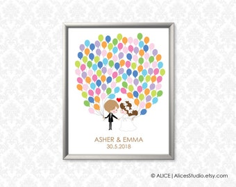 Wedding Guest Book Wedding Couple - Personalized Guestbook - Fingerprint or Balloon Signatures - Canvas, Paper or Digital Printable