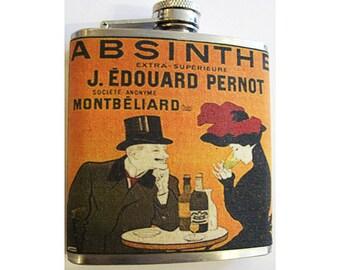 Absinthe flask retro vintage art nouveau alcohol advertising poster bar decor kitsch