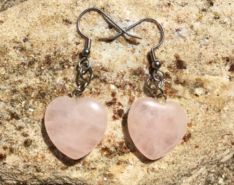 Natural Rose Quartz Heart Dangle Earrings, Rose Quartz Jewelry, Pink Jewelry, Pink Earrings, Genuine Rose Quartz, Pink Crystal Heart Jewelry