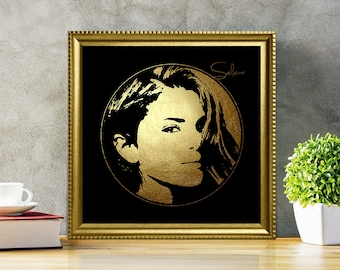 Selena Gomez in Gold - Selena Gomez - Selena Gomez Art - Selena Gomez Poster - Selena Gomez Print - Personalities Portraits - Black and gold