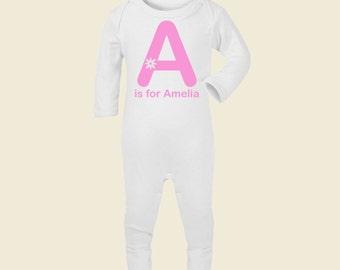 Super Cute Personalised 'A is for...' White Onsie Sleepsuit