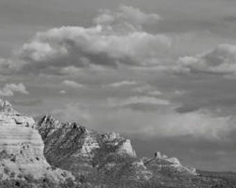 SEDONA Panoramic - Landscape (B/W, Color) - 8x24 large art print - Red Rock, mountains, cloudscape - terracotta, big sky - OKeefe