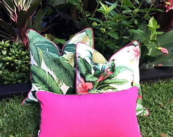 Palm Leaf Cushions, Banana Leaf Outdoor Cushion Covers. Swaying Palms Outdoor Pillows Tropical Pillows Alfresco Cushions Tropical Pillows