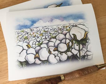 Cotton Boll Note Cards // Cotton Field Stationery Set // Cotton Crop Blank Note Card // Gift