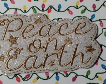 White Glitter Vinyl Peace on Earth Headband Slider