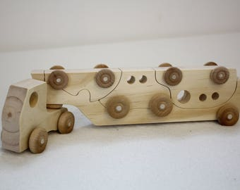 Wooden Toy Truck Puzzle, Wooden Truck Car Set Christmas Gift,  Toddler Wooden Puzzle Truck
