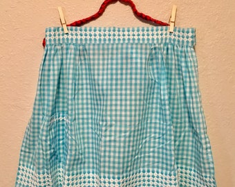 Vintage Robin Egg Blue Gingham Check Apron with White Embroidered Trim